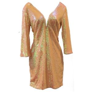 Full Sequin Plunge Neck Dress-XS